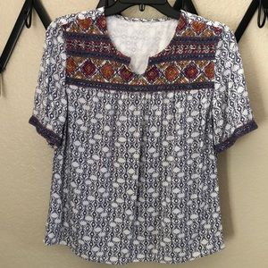 Blouse, cotton, complimentary colors. No tags